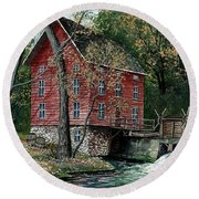 Old Time Mill Round Beach Towel
