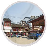 Old Town Of Shanghai China Round Beach Towel