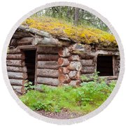 Old Traditional Log Cabin Rotting In Yukon Taiga Round Beach Towel