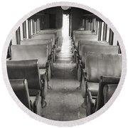 Old Train Seats Round Beach Towel