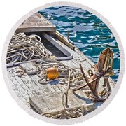 Old Wooden Fishing Boat Detail Round Beach Towel