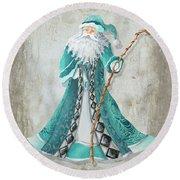 Old World Style Turquoise Aqua Teal Santa Claus Christmas Art By Megan Duncanson Round Beach Towel