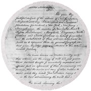 Olive Branch Petition, 1775 Round Beach Towel