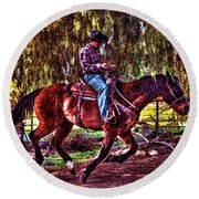 On The Ranch Round Beach Towel