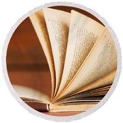Open Book In Retro Style Round Beach Towel by Michal Bednarek