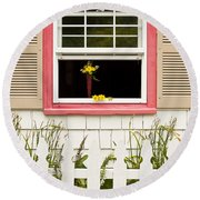 Open Window With Yellow Flower In Vase Round Beach Towel