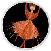 1 Orange Ballerina Round Beach Towel