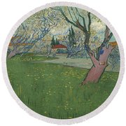 Orchards In Blossom Round Beach Towel