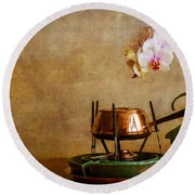 Orchid And Copper Fondue Round Beach Towel