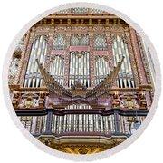 Organ In Cordoba Cathedral Round Beach Towel