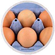 Organic Eggs Round Beach Towel