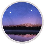 Orion Over Lake Annette Round Beach Towel