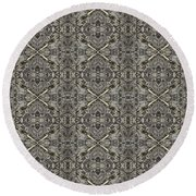 Ornament Engraved On Metal Surface Round Beach Towel
