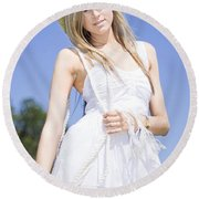 Outback Country Girl Round Beach Towel