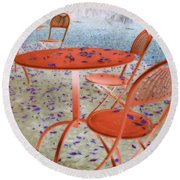 Outside Cafe  Round Beach Towel