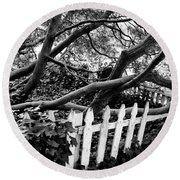Overflowing A Picket Fence Round Beach Towel
