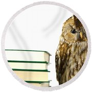Owl At A Book Pile Round Beach Towel