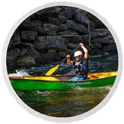 Paddler In A Whitewater Canoe Round Beach Towel