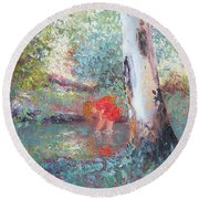 Paddling In The Creek Round Beach Towel