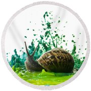 Paint Sculpture And Snail  Round Beach Towel