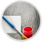Paintbrush On Canvas Round Beach Towel