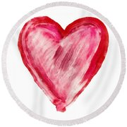 Painted Heart - Symbol Of Love Round Beach Towel