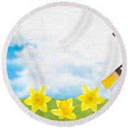Painting Daffodils Round Beach Towel
