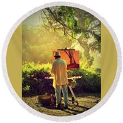 Within The Painting Round Beach Towel
