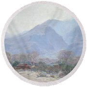 Palm Springs Landscape With Shack Round Beach Towel by John Frost