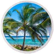 Palm Trees And Sea Round Beach Towel