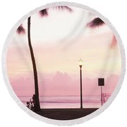 Palm Trees On The Beach, Waikiki Round Beach Towel