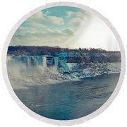 Panorama - Niagara Falls In Winter Round Beach Towel