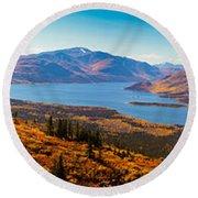 Panorama Of Fish Lake Yukon Territory Canada Round Beach Towel