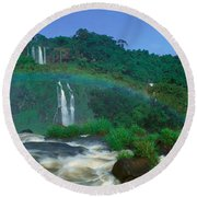 Panoramic View Of Iguazu Waterfalls Round Beach Towel