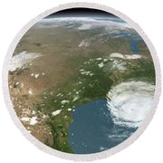 Panoramic View Of Planet Earth Round Beach Towel
