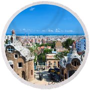 Park Guell In Barcelona Round Beach Towel