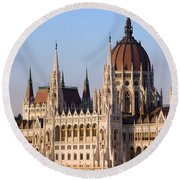 Parliament Building In Budapest Round Beach Towel