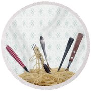 Pasta For Five Round Beach Towel by Joana Kruse
