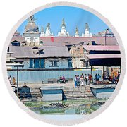 Pasupatinath Temple Of Cremation Complex In Kathmandu-nepal- Round Beach Towel