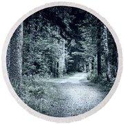 Path In Dark Forest Round Beach Towel by Elena Elisseeva