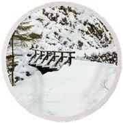 Pathway Through The Snow Round Beach Towel