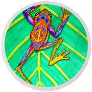 Peace Frog Round Beach Towel