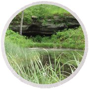Peaceful Cavern  Round Beach Towel