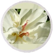 Peaceful Sentinel Of The White Peony Round Beach Towel