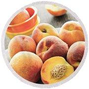 Peaches On Plate Round Beach Towel