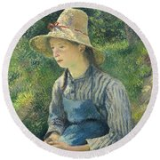 Peasant Girl With A Straw Hat Round Beach Towel