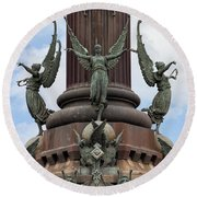 Pedestal Of Columbus Monument In Barcelona Round Beach Towel