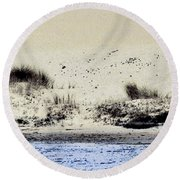 Pelican At Coorong Round Beach Towel