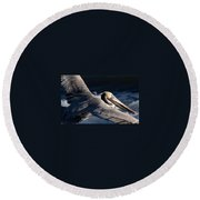 Pelican Flight Round Beach Towel