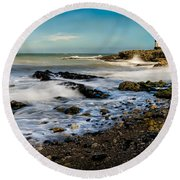Penmon Lighthouse Round Beach Towel
